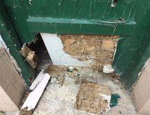 Ζημιά από υπόγειους τερμίτες σε ξύλινη πόρτα